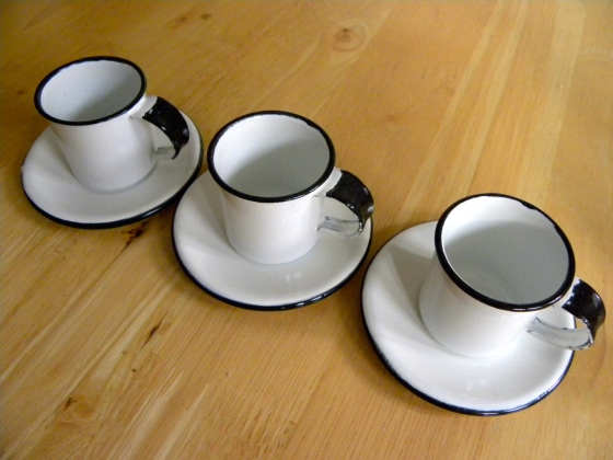 3 Small Enamel Coffee Cups + Saucer